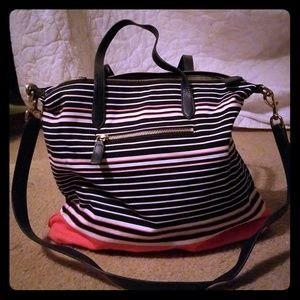 Talbots Canvas Tote with leather straps